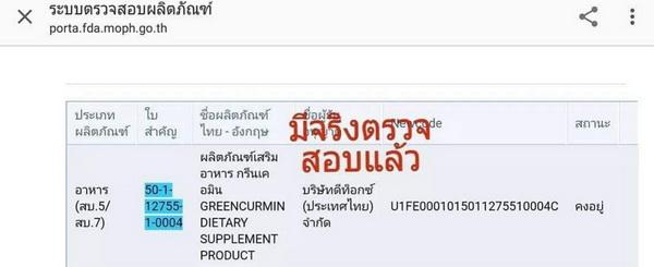 FDA number GREENCURMIN